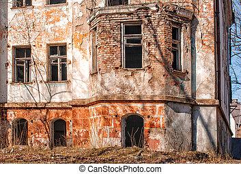 ville, vieux, abandonnés, maison