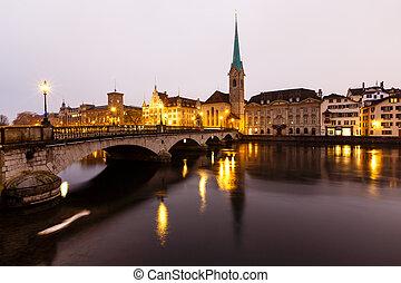 ville, vieux, centre, zurich, refléter, suisse, limmat rivière, matin, vue