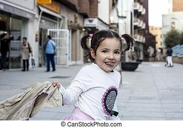 ville, vieux, elle, manteau, trois, année, girl, jouer, heureux