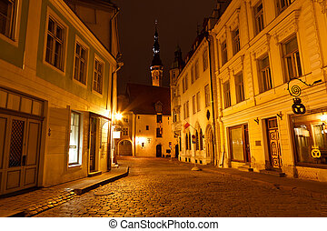 ville, vieux, estonie, tallinn, rue, nuit