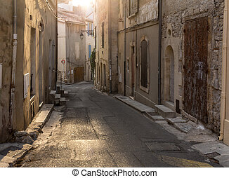 ville, vieux, france., rue, provence., arles