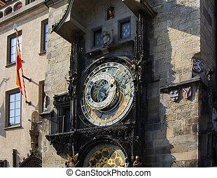 ville, vieux, horloge, astronomique, (orloj), prague