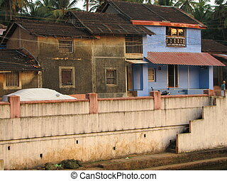ville, vieux, india., rues, indien, gokarna