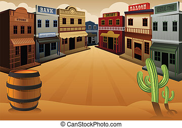 ville, vieux, occidental