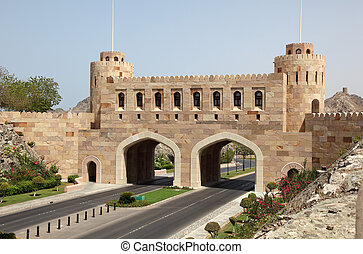 ville, vieux, oman, portail, sultanat, muscat