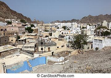 ville, vieux, oman, sur, muscat, sultanat, vue