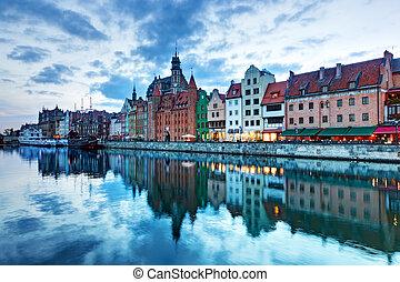 ville, vieux, pologne, rivière, motlawa, coucher soleil, gdansk, vue