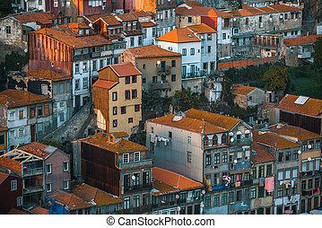 ville, vieux, porto, résidentiel, portugal., façades, maisons