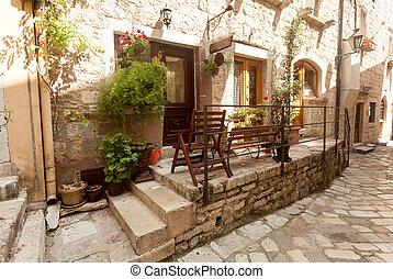 ville, vieux, pots, rue, décoré, fleurs