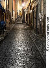 ville, vieux, stockholm, nuit