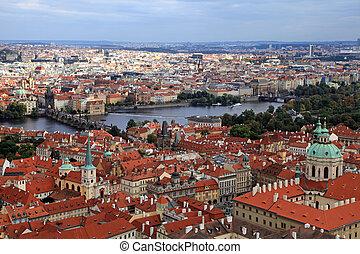 ville, vieux, tchèque, panorama, prague, rivière, vltava, ...