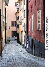 ville, vieux, trottoir, stockholm