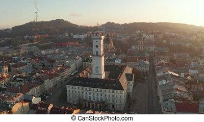 ville, vieux, vol, sunrise., city., toits, lviv, européen,...