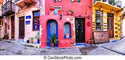 ville, vif, chania, vieux, crète, -, série, île, grèce, rues, couleurs