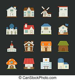 ville, ville, bâtiments, plat, icônes, conception