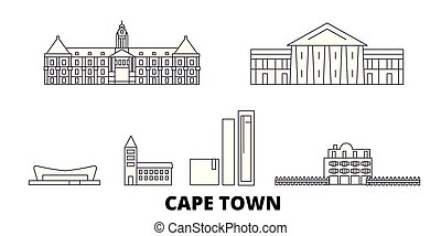 ville, ville, contour, illustration, voyage, landmarks., symbole, horizon, vecteur, afrique, cap, ligne, set., sud, vues