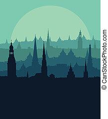 ville, ville, détaillé, vieux, vendange, illustration, lune,...