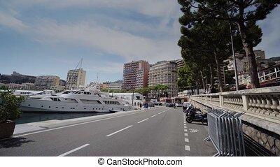 ville, ville, monte, ensoleillé, yachts, rue, monaco, carlo