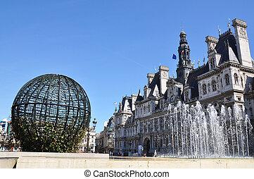 ville, ville), paris, de, (hotel, salle