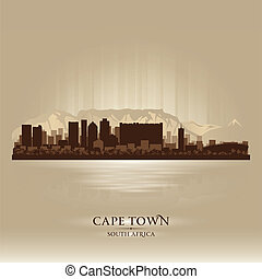ville, ville, silhouette, afrique, horizon, cap, sud