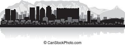 ville, ville, silhouette, horizon, vecteur, cap