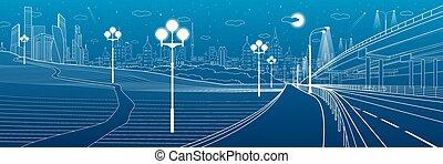 ville, ville, soir, art, éclairé, passage supérieur, playing., voiture, moderne, vecteur, scene., arrière-plan., gosses, conception, nuit, bridge., park.