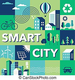 ville, ville, urbain, concept, moderne, vert, intelligent, géométrique, paysage, design.