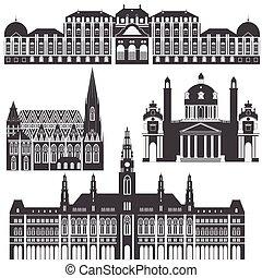 ville, ville, vienna., éléments, voyage, palais, vues, salle, belvedere, autriche, karlskirche, architecture, repère, autrichien, stephansdom, voyage