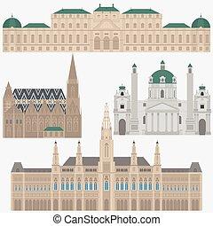 ville, ville, vienna., éléments, voyage, palais, vues, stephansdom, belvedere, autriche, karlskirche, architecture, repère, autrichien, salle, voyage
