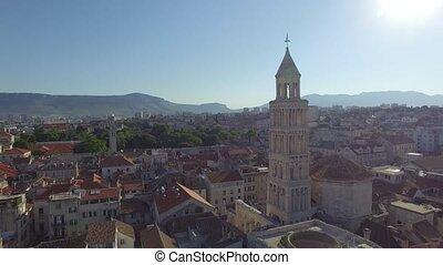 ville, ville, vieux, centre, palais, diocletian, fente, vue aérienne