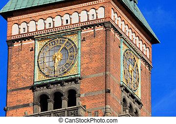ville, ville, vieux, danemark, copenhague, salle