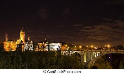 ville, ville, vieux, lapse., luxembourg., temps, vue