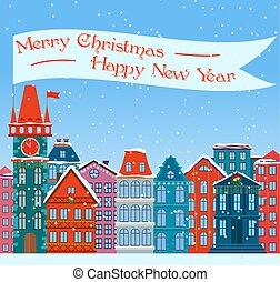 ville, ville, winter., vieux, illustration., neigeux, bâtiments., dessin animé, arrière-plan., rue, noël, salutations, année, willage., nouveau, noël, card.