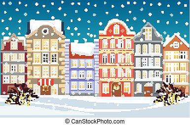 ville, ville, winter., vieux, illustration., neigeux, bâtiments., dessin animé, arrière-plan., rue, noël, salutations, année, nouveau, noël, card.