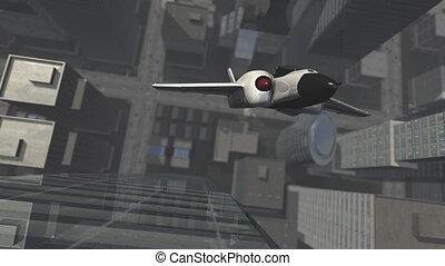 ville, virage, u, au-dessus, vaisseau spatial, futuriste, 3d