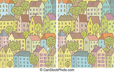 ville, visuel, différences, jeu