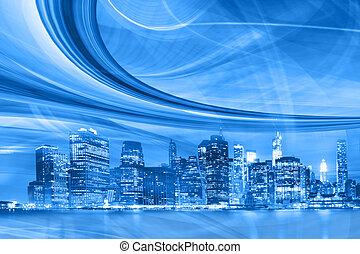 ville, vitesse, trails., mouvement, résumé, en ville, lumière bleue, urbain, moderne, illustration, autoroute, aller