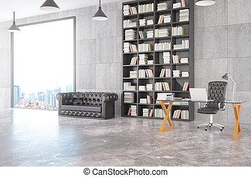 ville, vitreux, grenier, bureau, personnel, grand, moderne, sofa, fenêtre, bibliothèque, chesterfield, table, vue