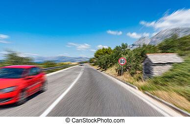 ville, voiture, motion., signe, dehors, avertissement, route, rouges
