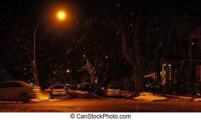 ville, voitures, conduire, neige, passé, tomber, route