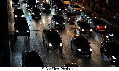 ville, voitures, temps, confiture, trafic, nuit