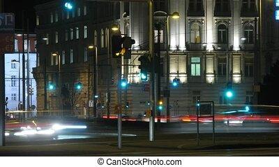 ville, voitures, trafic, va, nuit, masse