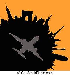 ville, voyage, vecteur, avion