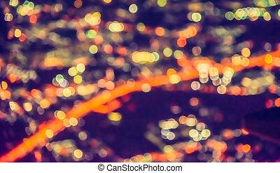ville, vue dessus, light., barbouillage