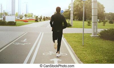 ville, vue., lifestyle., road., coureur, parc, dos, sain,...