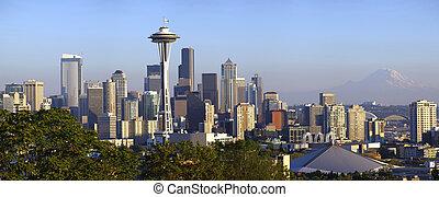 ville, vue., seattle, panoramique