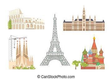 ville, vues, européen