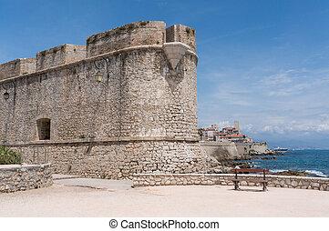 ville, walls., banc, antibes', historique, devant