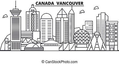 ville, wtih, illustration., coups, linéaire, editable, icons., repères, célèbre, horizon, vecteur, conception, vues, canada, cityscape, vancouver, ligne, architecture paysage