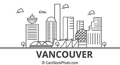 ville, wtih, illustration., linéaire, coups, editable, icons., repères, célèbre, horizon, vecteur, vancouver, vues, cityscape, conception, ligne, architecture paysage